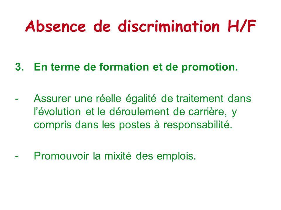 Absence de discrimination H/F