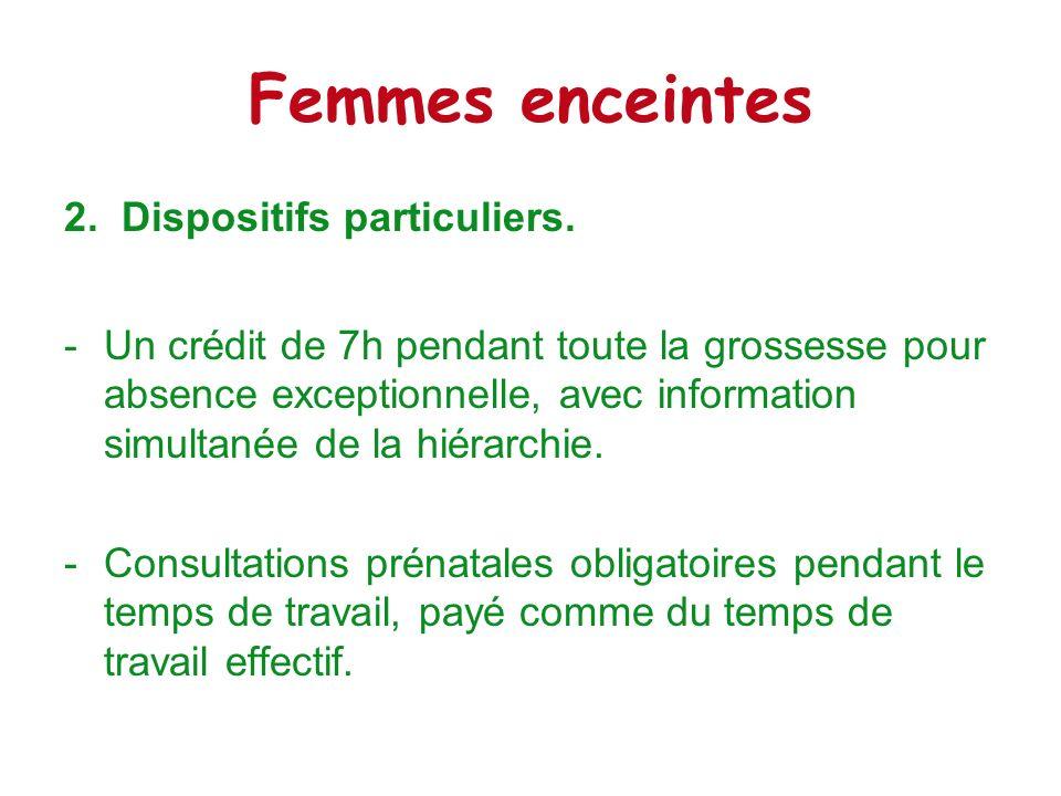 Femmes enceintes 2. Dispositifs particuliers.