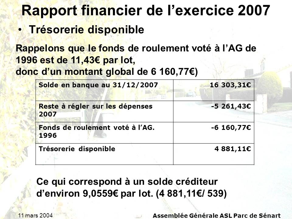 Rapport financier de l'exercice 2007