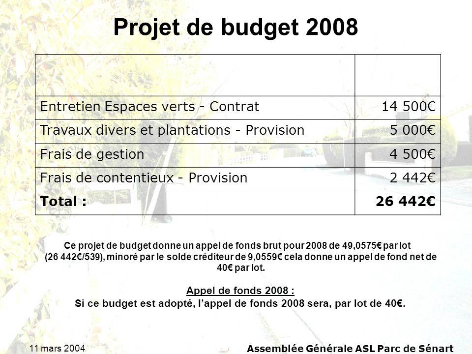 Projet de budget 2008 Entretien Espaces verts - Contrat 14 500€