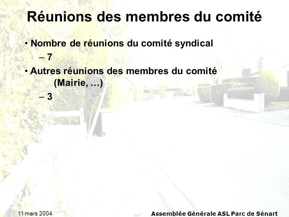 Réunions des membres du comité