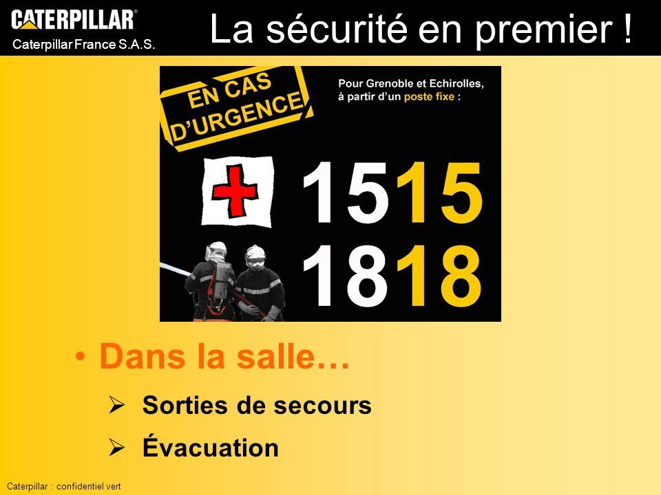 La sécurité en premier ! Dans la salle… Sorties de secours Évacuation