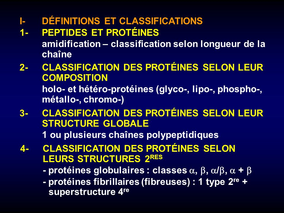 I- DÉFINITIONS ET CLASSIFICATIONS