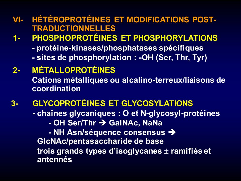 VI- HÉTÉROPROTÉINES ET MODIFICATIONS POST- TRADUCTIONNELLES