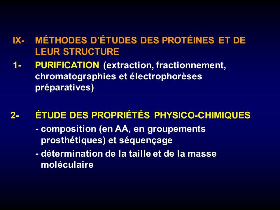 IX- MÉTHODES D'ÉTUDES DES PROTÉINES ET DE LEUR STRUCTURE