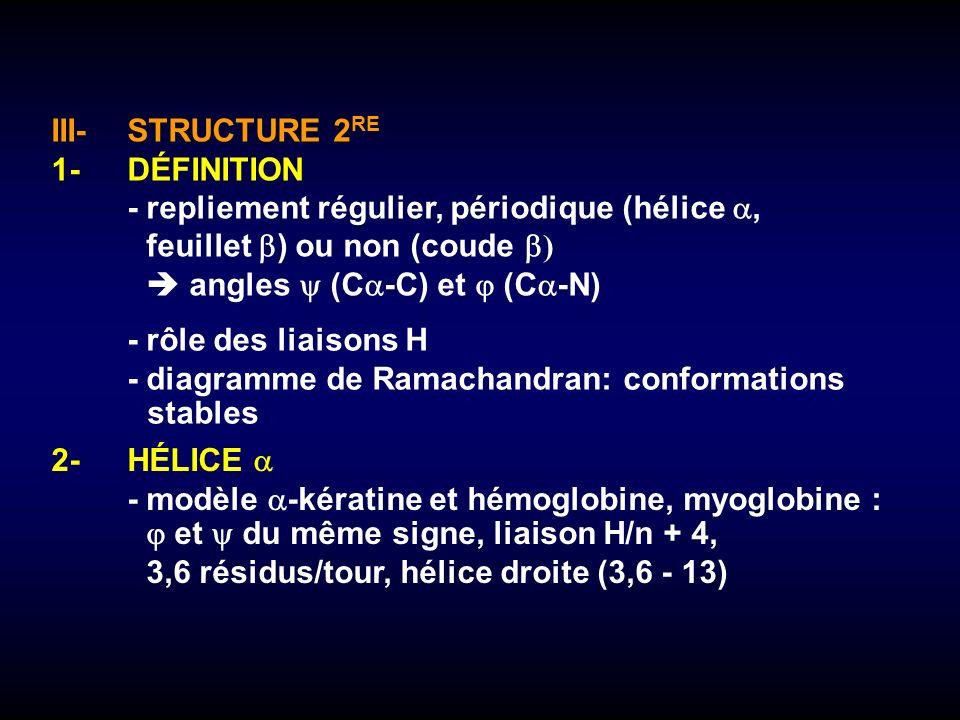 III- STRUCTURE 2RE 1- DÉFINITION. - repliement régulier, périodique (hélice , feuillet ) ou non (coude )