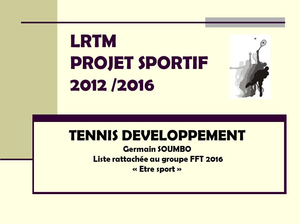 LRTM PROJET SPORTIF 2012 /2016TENNIS DEVELOPPEMENT Germain SOUMBO Liste rattachée au groupe FFT 2016 « Etre sport »