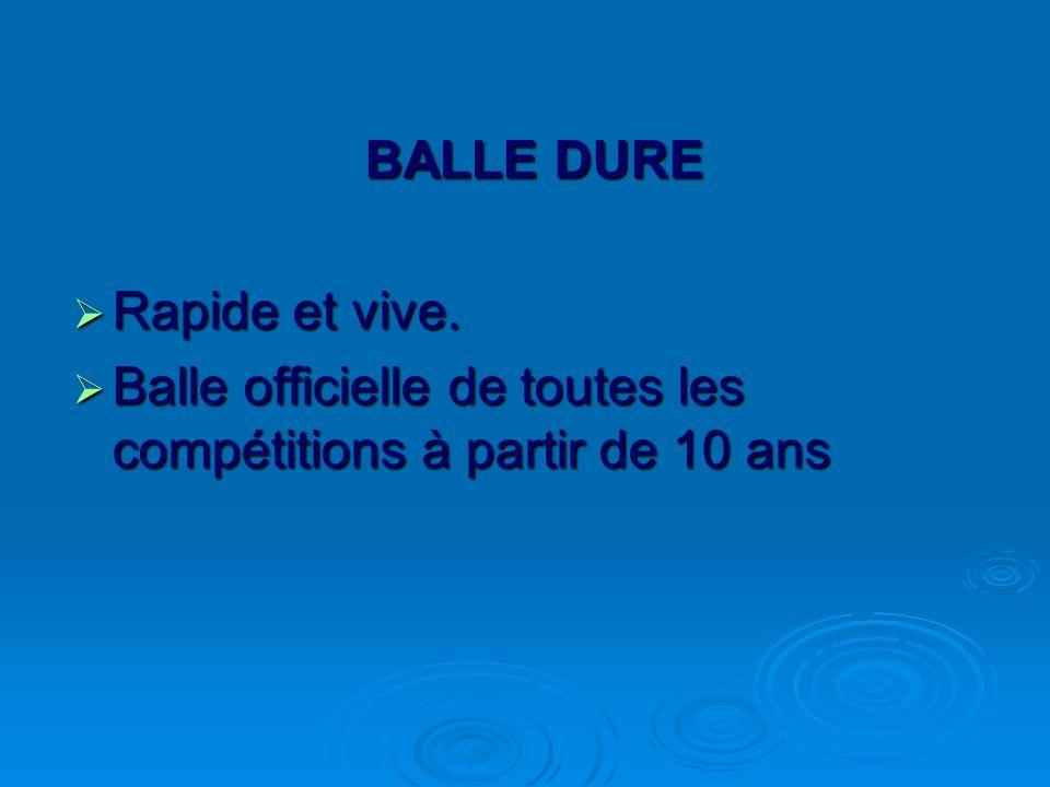 BALLE DURE Rapide et vive. Balle officielle de toutes les compétitions à partir de 10 ans