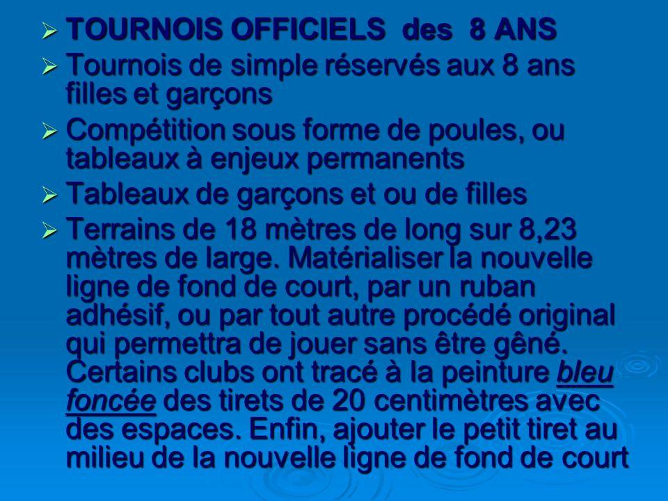 TOURNOIS OFFICIELS des 8 ANS