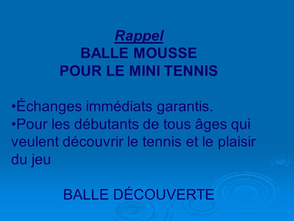Rappel BALLE MOUSSE. POUR LE MINI TENNIS. Échanges immédiats garantis.