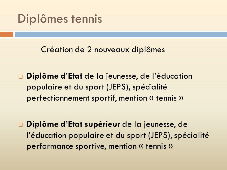 Diplômes tennis Création de 2 nouveaux diplômes