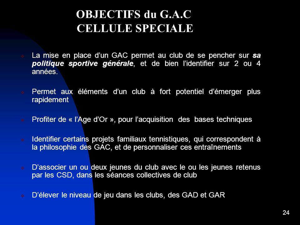 OBJECTIFS du G.A.C CELLULE SPECIALE