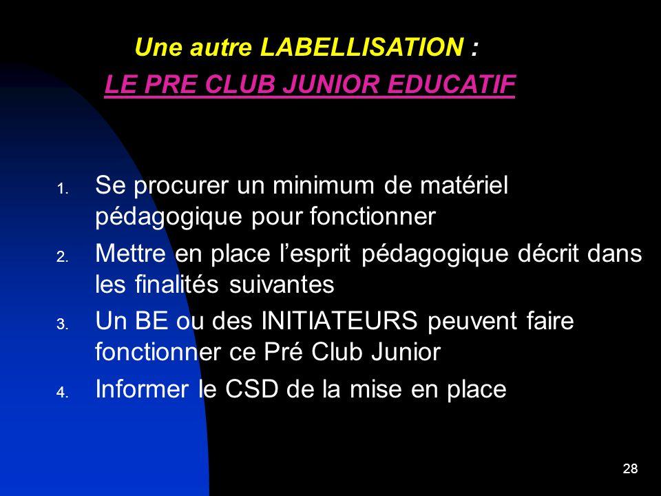 Une autre LABELLISATION : LE PRE CLUB JUNIOR EDUCATIF