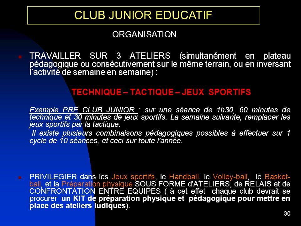 TECHNIQUE – TACTIQUE – JEUX SPORTIFS