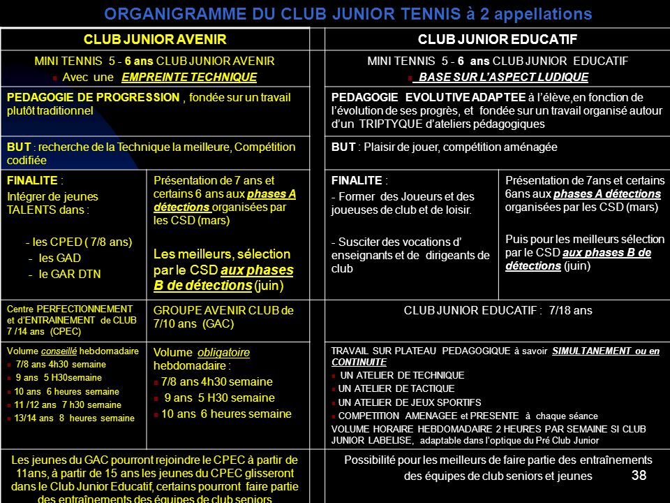 ORGANIGRAMME DU CLUB JUNIOR TENNIS à 2 appellations