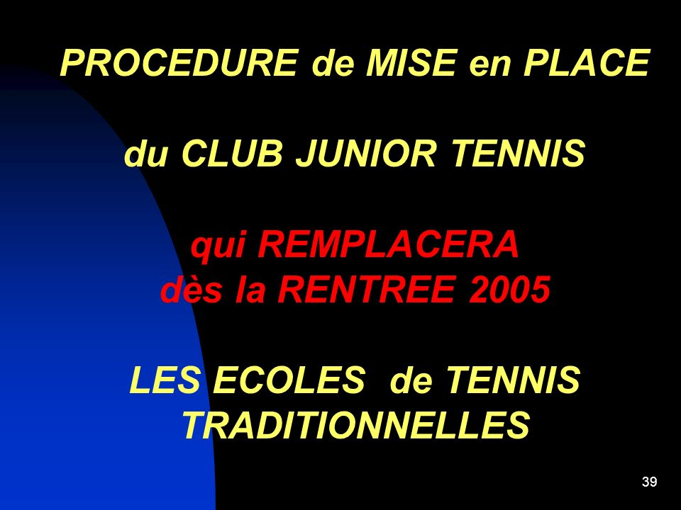 PROCEDURE de MISE en PLACE LES ECOLES de TENNIS TRADITIONNELLES