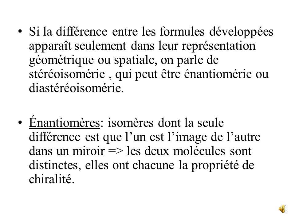 Si la différence entre les formules développées apparaît seulement dans leur représentation géométrique ou spatiale, on parle de stéréoisomérie , qui peut être énantiomérie ou diastéréoisomérie.