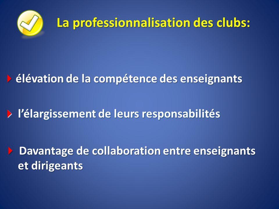 La professionnalisation des clubs: