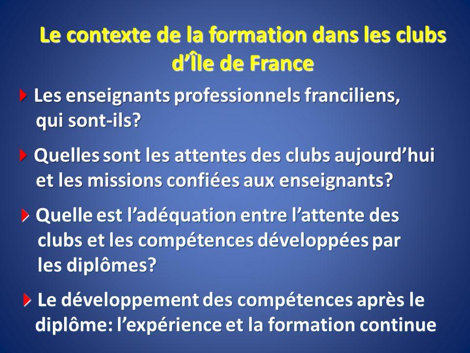 Le contexte de la formation dans les clubs d'Île de France