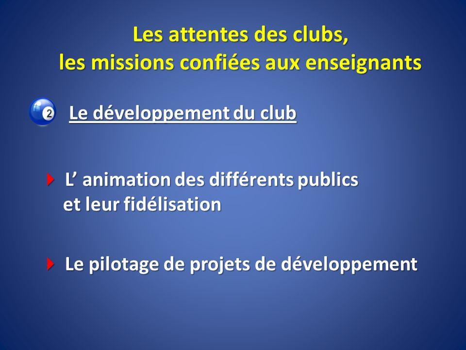 Les attentes des clubs, les missions confiées aux enseignants