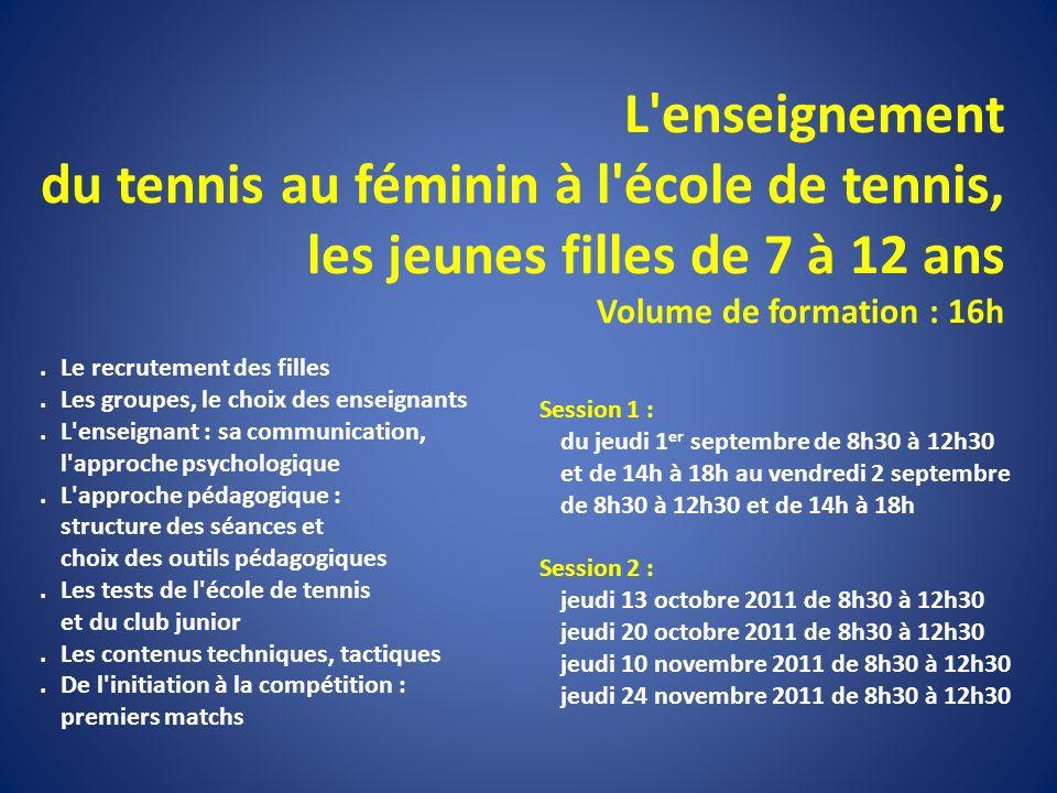 L enseignement du tennis au féminin à l école de tennis, les jeunes filles de 7 à 12 ans Volume de formation : 16h