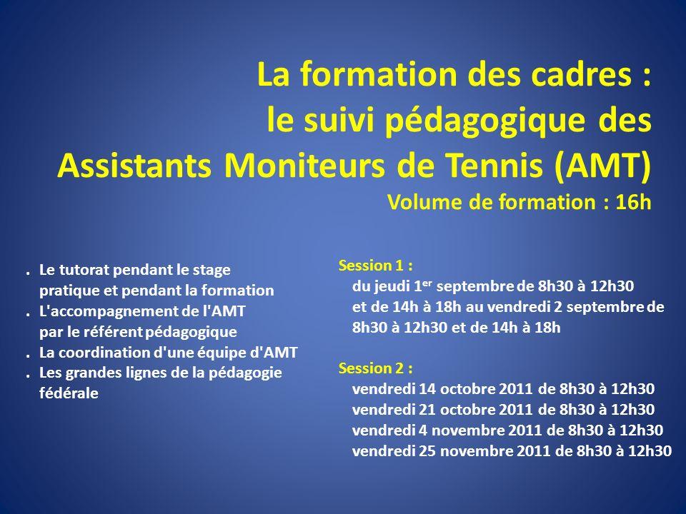 La formation des cadres : le suivi pédagogique des Assistants Moniteurs de Tennis (AMT) Volume de formation : 16h