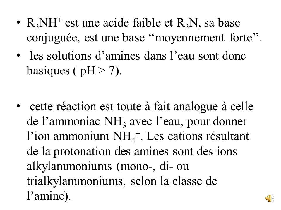 R3NH+ est une acide faible et R3N, sa base conjuguée, est une base ''moyennement forte''.