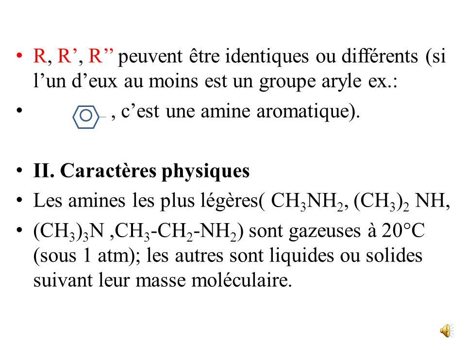 R, R', R'' peuvent être identiques ou différents (si l'un d'eux au moins est un groupe aryle ex.: