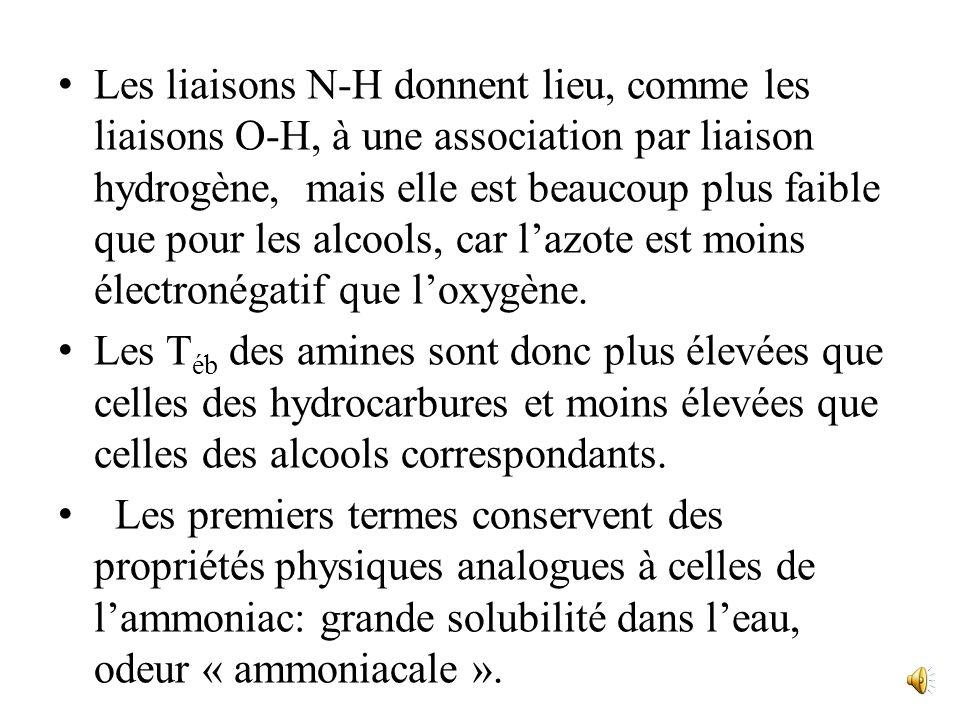 Les liaisons N-H donnent lieu, comme les liaisons O-H, à une association par liaison hydrogène, mais elle est beaucoup plus faible que pour les alcools, car l'azote est moins électronégatif que l'oxygène.