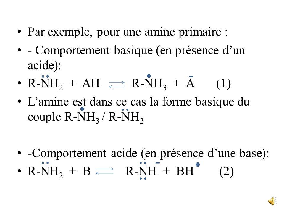 Par exemple, pour une amine primaire :