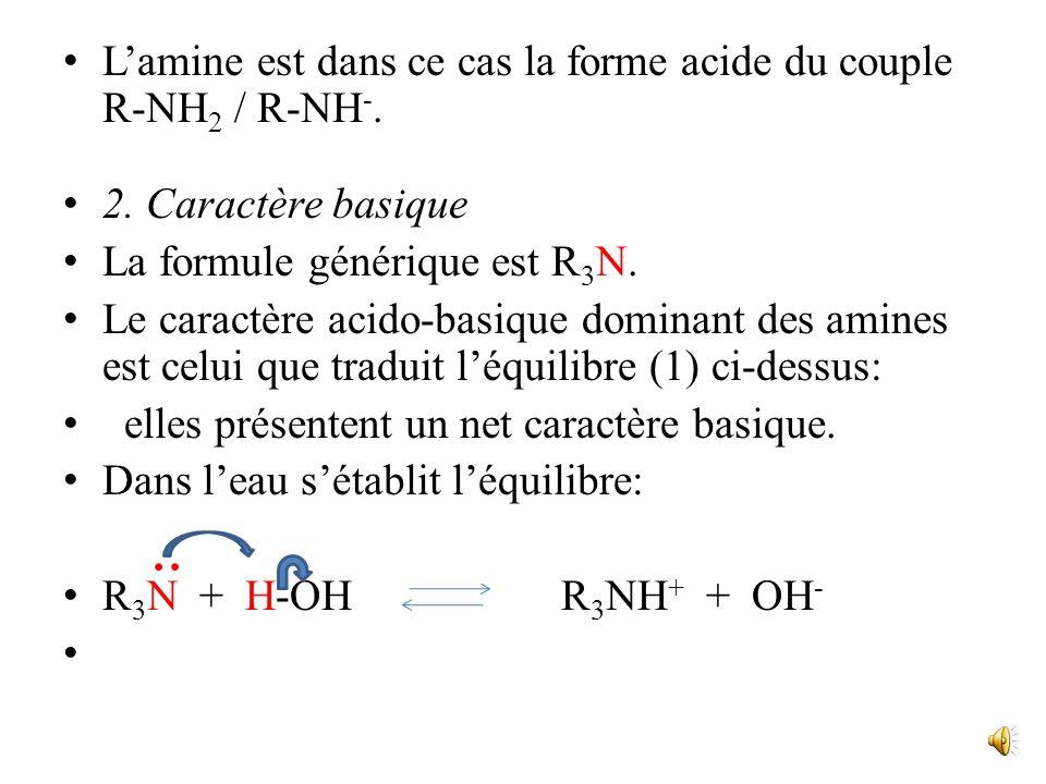 L'amine est dans ce cas la forme acide du couple R-NH2 / R-NH-.