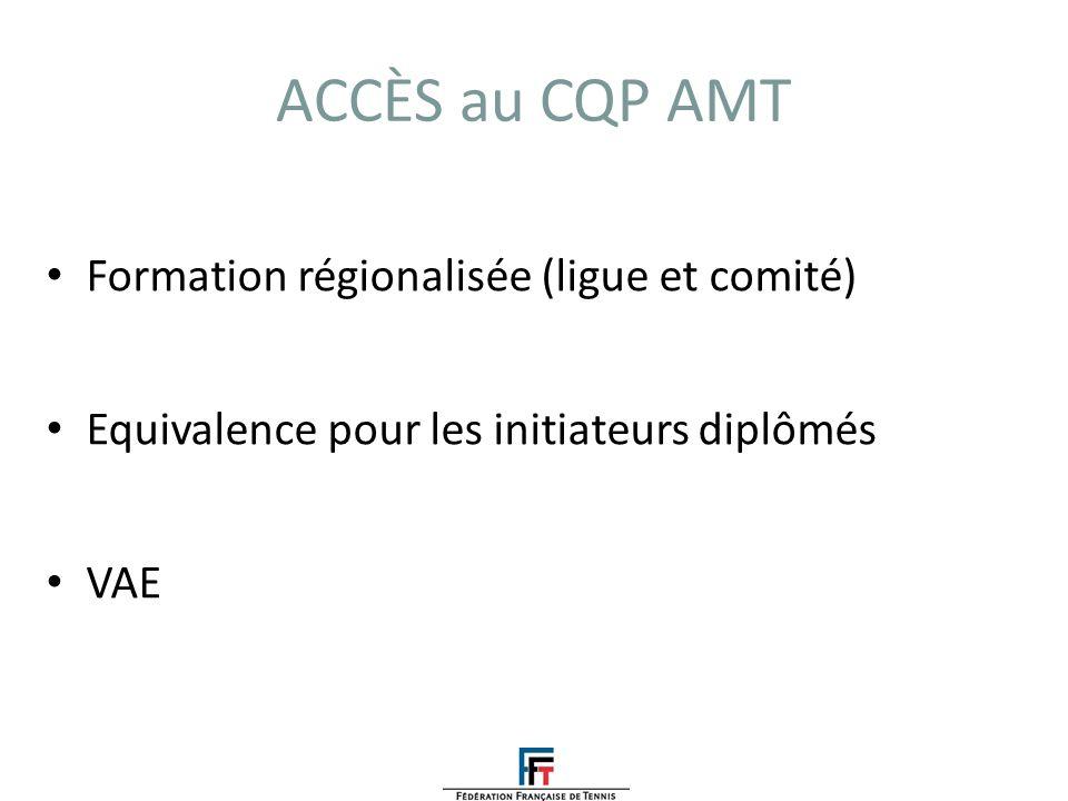 ACCÈS au CQP AMT Formation régionalisée (ligue et comité)