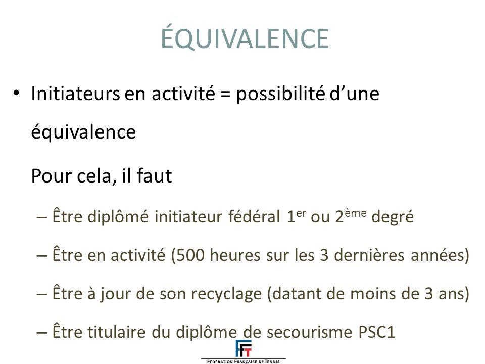 ÉQUIVALENCE Initiateurs en activité = possibilité d'une équivalence