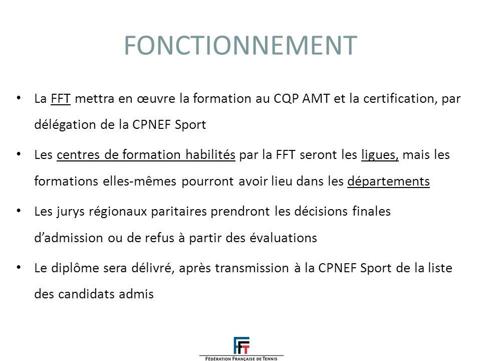 FONCTIONNEMENTLa FFT mettra en œuvre la formation au CQP AMT et la certification, par délégation de la CPNEF Sport.
