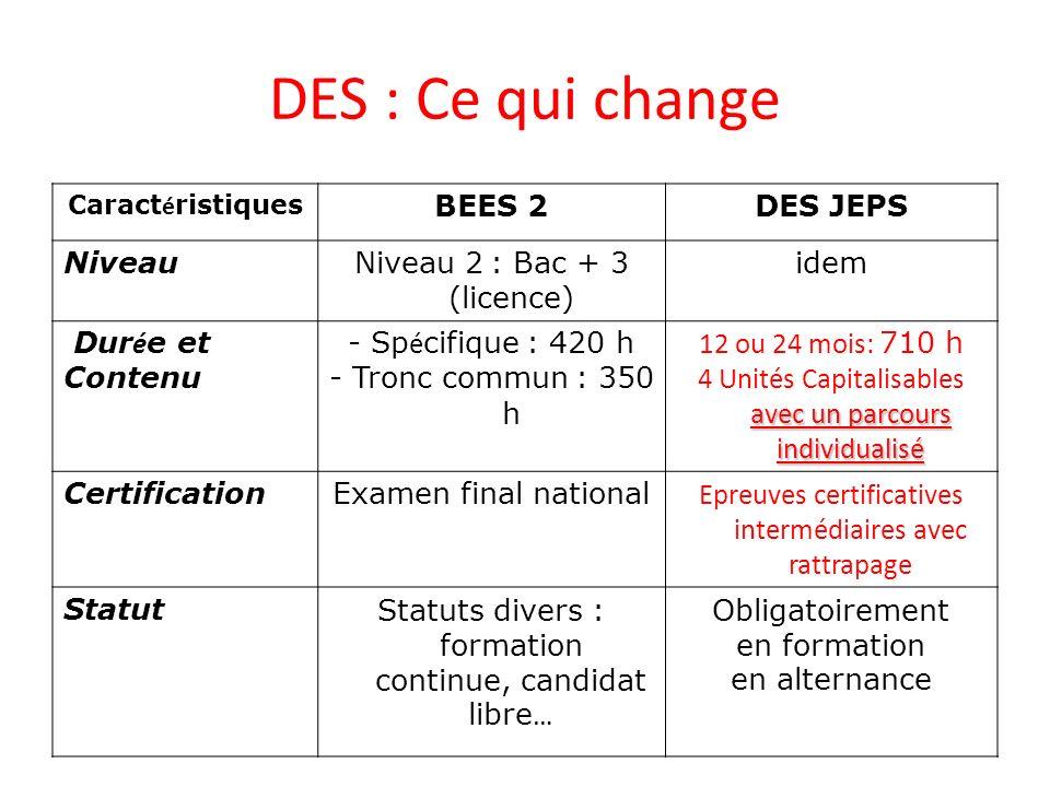 DES : Ce qui change BEES 2 DES JEPS Niveau