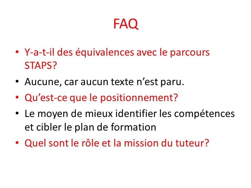 FAQ Y-a-t-il des équivalences avec le parcours STAPS