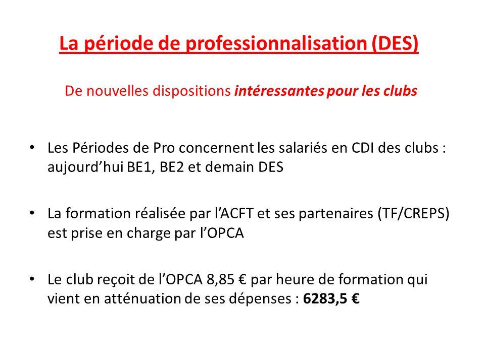 La période de professionnalisation (DES) De nouvelles dispositions intéressantes pour les clubs