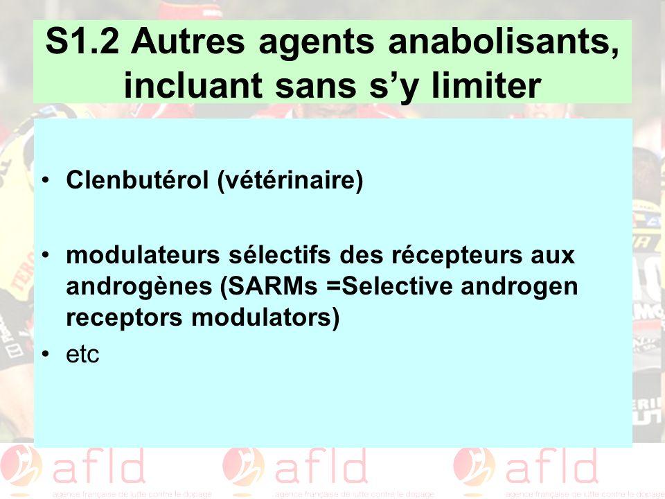 S1.2 Autres agents anabolisants, incluant sans s'y limiter