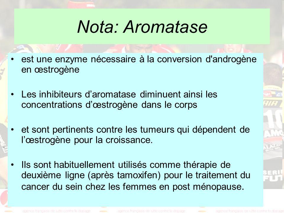 Nota: Aromatase est une enzyme nécessaire à la conversion d androgène en œstrogène.