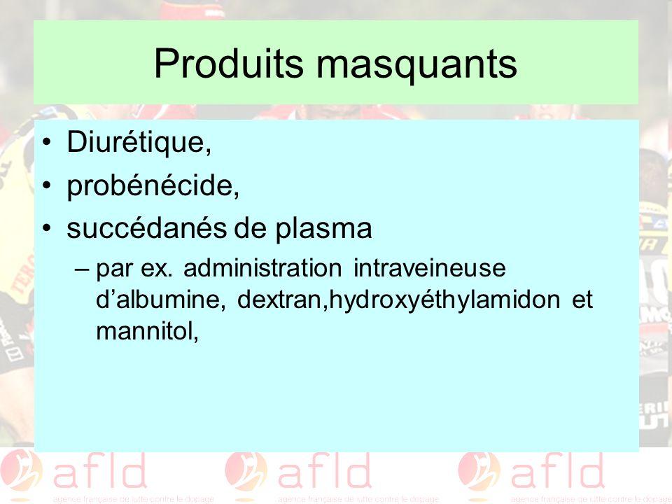 Produits masquants Diurétique, probénécide, succédanés de plasma