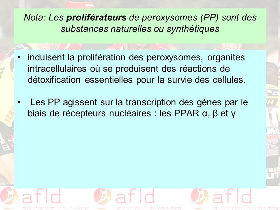 Nota: Les proliférateurs de peroxysomes (PP) sont des substances naturelles ou synthétiques