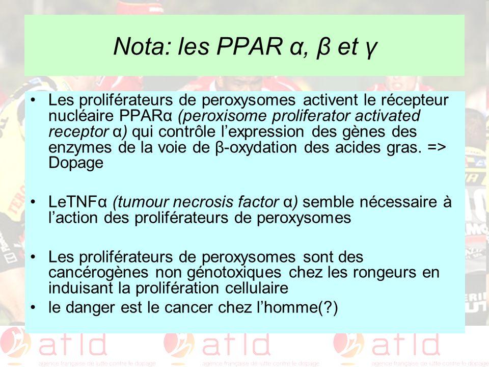 Nota: les PPAR α, β et γ