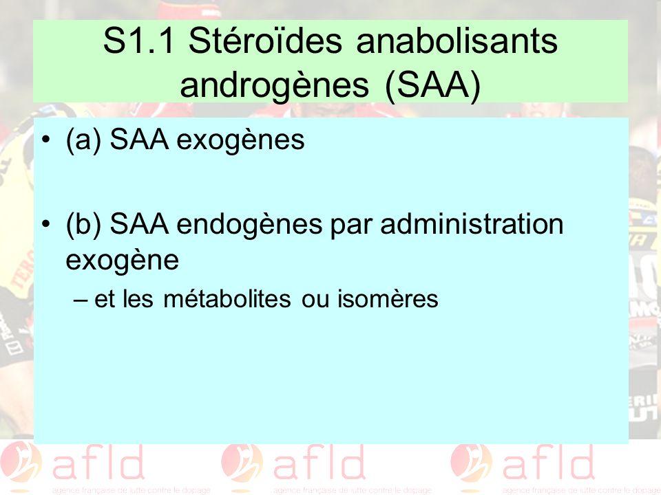 S1.1 Stéroïdes anabolisants androgènes (SAA)