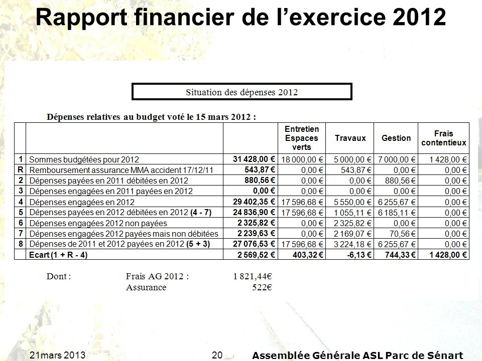 Rapport financier de l'exercice 2012