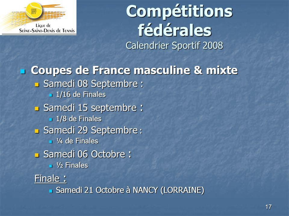 Compétitions fédérales Calendrier Sportif 2008