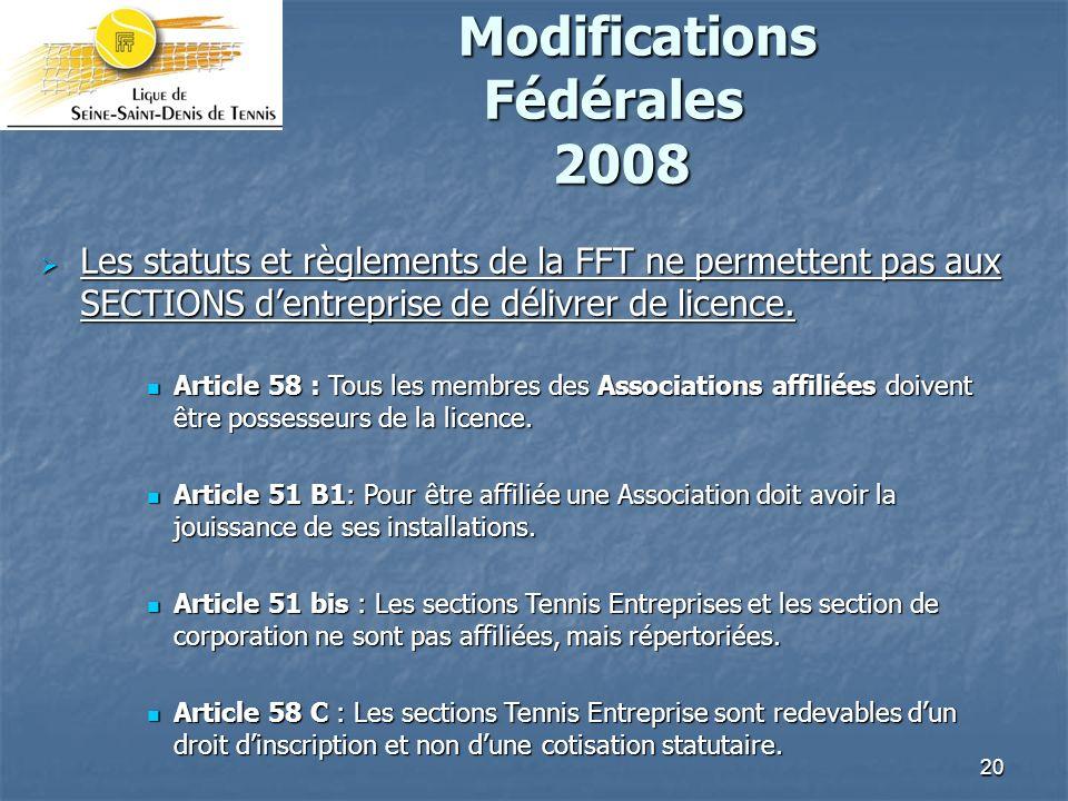 Modifications Fédérales 2008