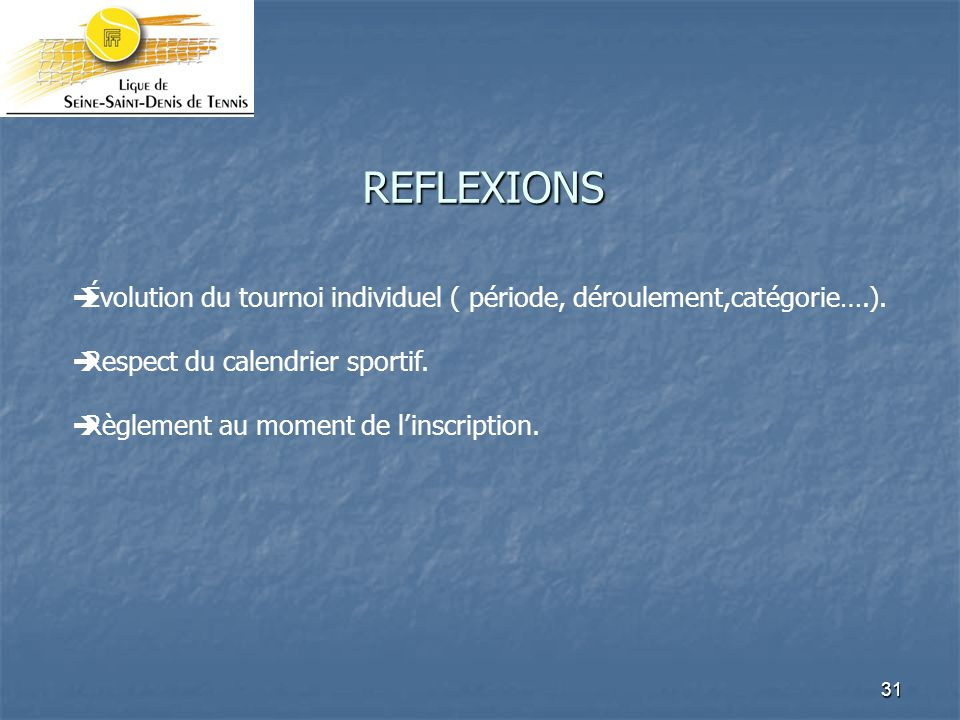 REFLEXIONS Évolution du tournoi individuel ( période, déroulement,catégorie….). Respect du calendrier sportif.