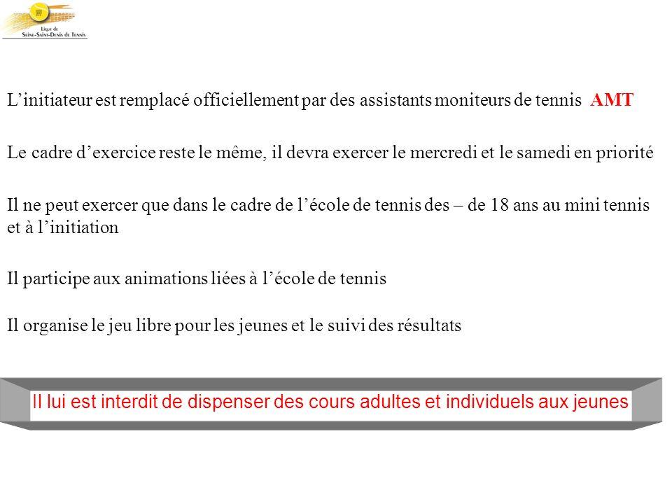 L'initiateur est remplacé officiellement par des assistants moniteurs de tennis AMT