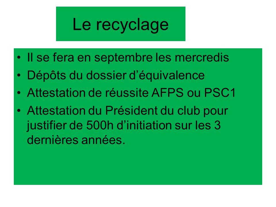 Le recyclage Il se fera en septembre les mercredis