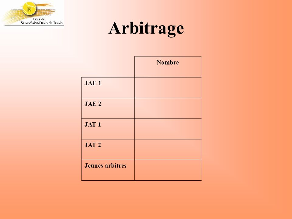 Arbitrage Nombre JAE 1 JAE 2 JAT 1 JAT 2 Jeunes arbitres